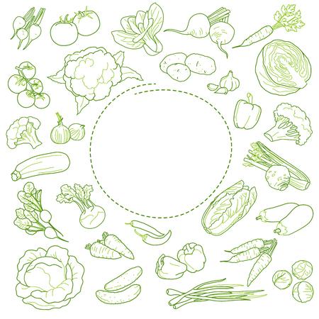 Restaurant vegan food menu design template, sketched style. Vector set Иллюстрация