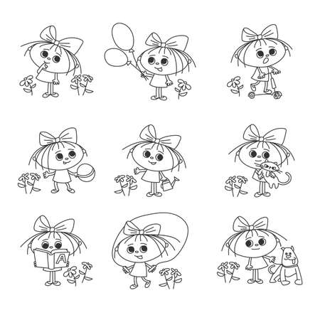 set of funny girls with bow hand drawn characters cartoon 向量圖像