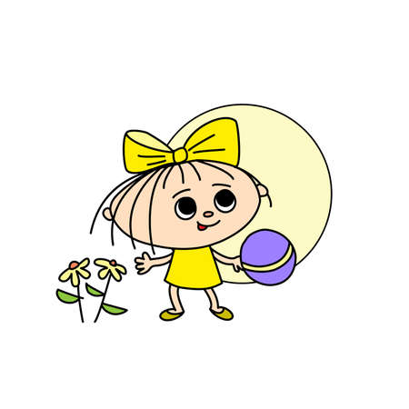 Cheerful girl with a ball and flowers on the background of the sun, hand-drawn cartoon 向量圖像