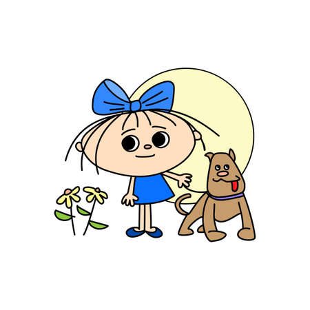 Girl with a bow, flowers and a dog on the background of the sun, hand-drawn cartoon