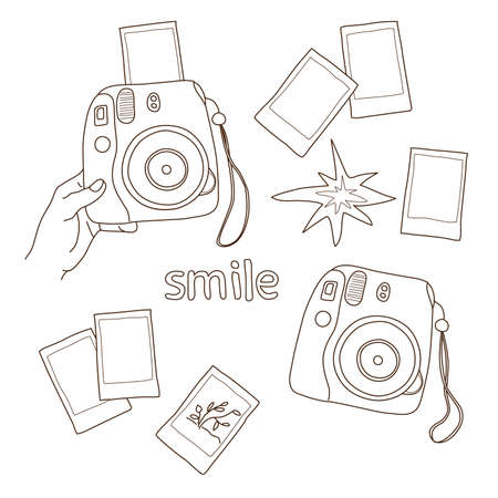 instant camera in hand, pictures, flashes, hipster photographer elements set, hand drawn 向量圖像