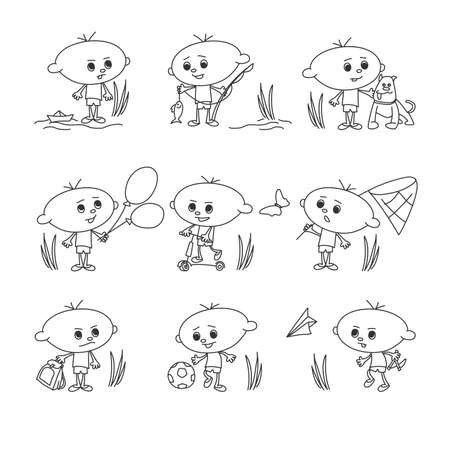 funny boys playing, doodles characters set hand drawn