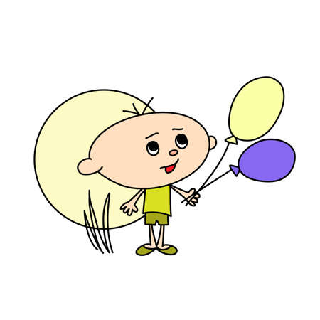 little boy with balloons hand drawn doodle