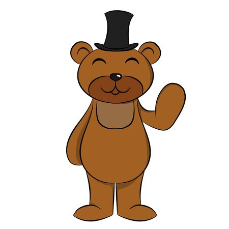 cartoon cute bear in a hat that waves his hand on a white background Illustration