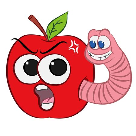 cartoon worm climbs out of an apple and smiles on a white background