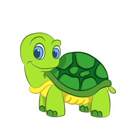 smiling cute cartoon turtle on white background vector