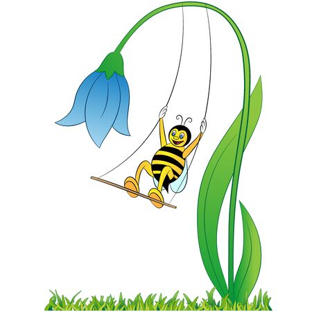 happy bee cartoon and flower on white background vector Illustration