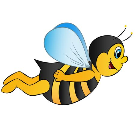 cartoon smiling flying bee on a white background vector