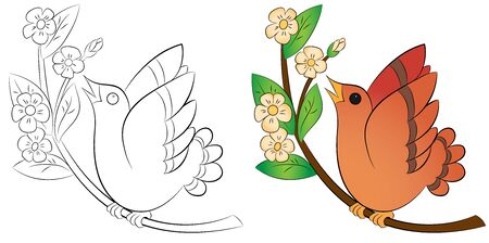 bird sitting on a branch coloring on a white background vector Illustration