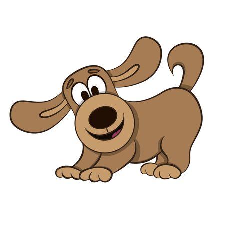 cartoon cheerful playful puppy spaniel vector