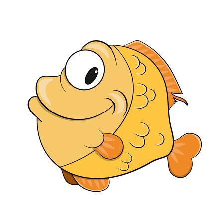 happy cartoon smiling fish vector