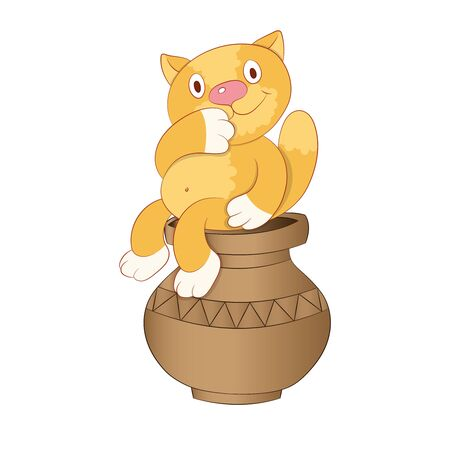 cartoon ginger cat sitting on a clay vase