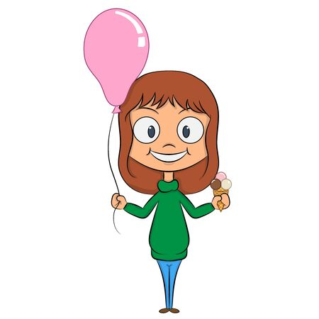 cheerful girl with a ball and ice cream in the hands of a celebratory mood Illustration
