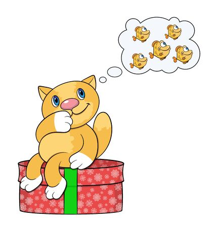 Cartoon ginger cat dreaming about fish sitting on a Christmas present.Isolated vector on a white background. Illustration