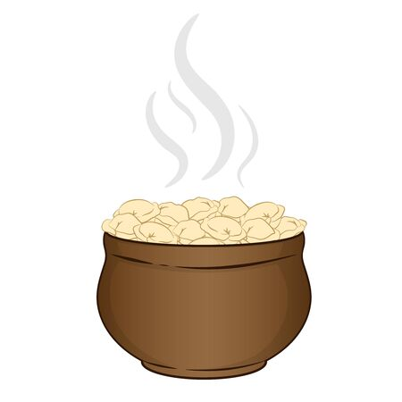 dumplings in a clay pot hot logo on a white background Illustration