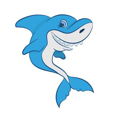 funny cartoon shark vector illustration