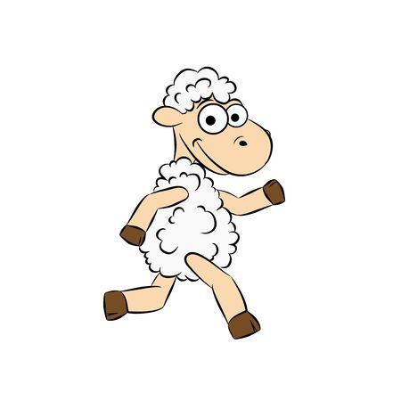 Cute cartoon vector sheep Vector illustration for kids.