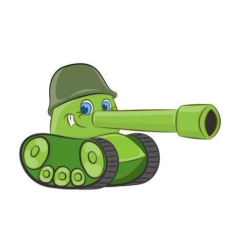 cartoon tank with a face smiling vector