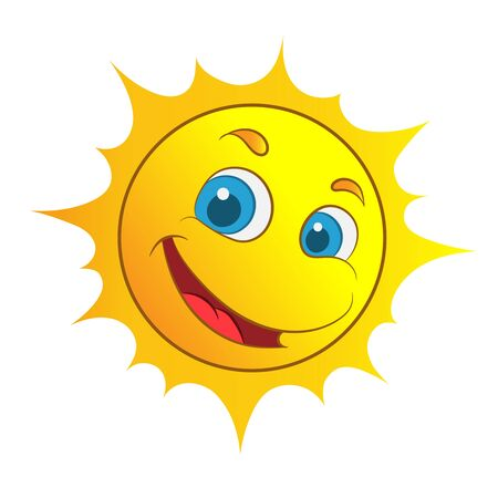 yellow smiling sun cartoon character as weather sign temperature Illustration