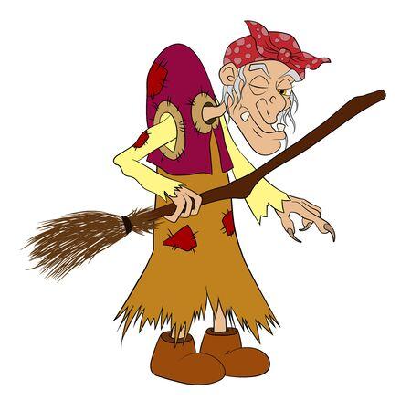 Cartoon Baba Yaga. Witch from russian folk tales vector
