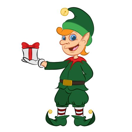 Christmas Elf Cartoon Character Santa Helper Flat Vector Illustration