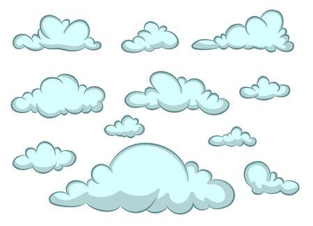 Cartoon cloud vector set. blue clouds