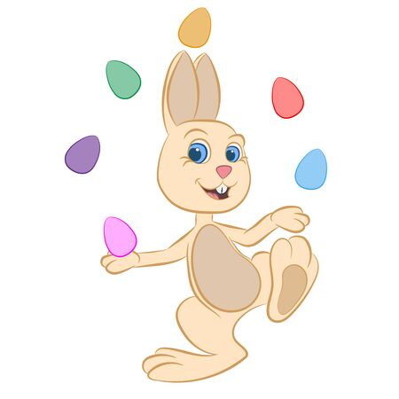 A smiling and happy Easter rabbit, or the Easter hare juggles with colorful eggs Illustration