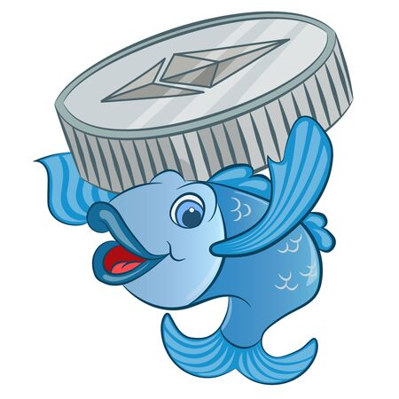 cartoon fish with coin ethereum vector