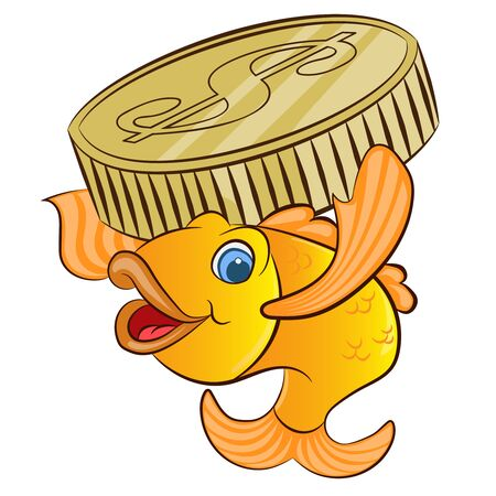 golden fish with a dollars coin cartoon vector