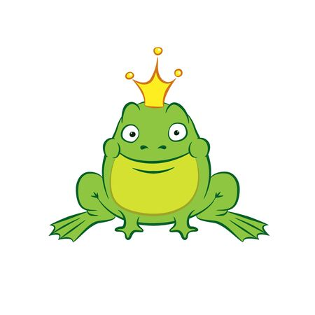 happy cartoon frog princess with a golden crown on white background