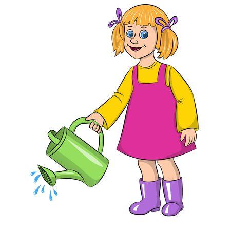 cartoon girl gardener watering watering can