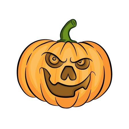 evil halloween pumpkin cartoon vector Illustration