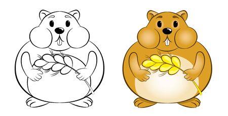 cute hamster, vector illustration on white background Illustration