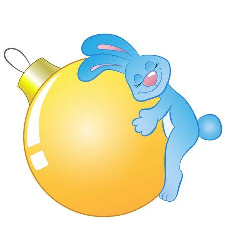 hare who hugs christmas tree ball on white background vector Illustration