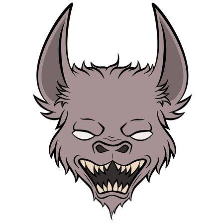 monster face mascot bat vampire head vector image Illustration
