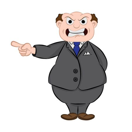 of a fat old Chief is angry. Vector cartoon