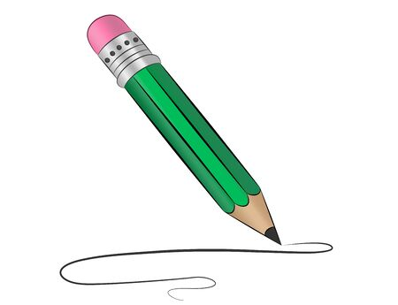 pencil draws a curved line, vector image