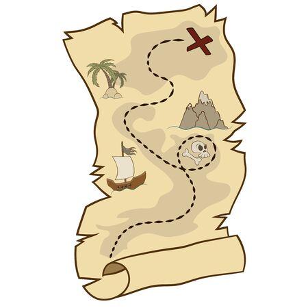 cartoon pirate treasure map vector image Illustration