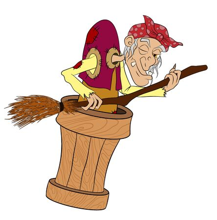 Baba Yaga flying in a mortar with a broom in his hands. Witch from Russian fairy tales. Cartoon on a white background. vector Illustration