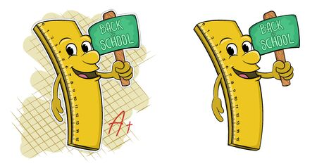 Cartoon ruler with a face holding an inscription in his hands holding a sign back to school. vector illustration Illustration