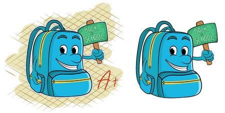 Cartoon school backpack with a sign saying back to school. vector illustration Illustration