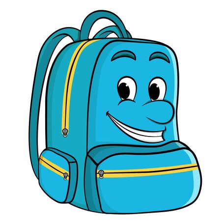 Cartoon school backpack in blue with a face. Back to school. vector on a white background Illustration