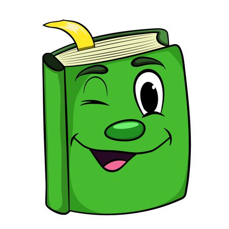 green cartoon book smiling .vector isolated illustration