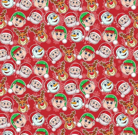 New Year, Christmas seamless pattern on a red background with cartoon characters.