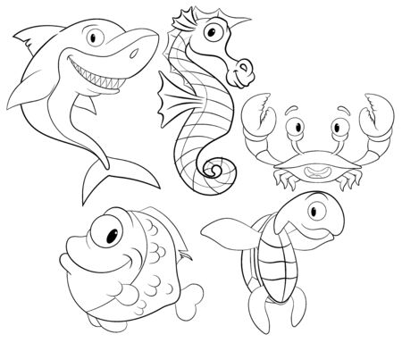coloring book with sea animals vector. set with cute sea creatures
