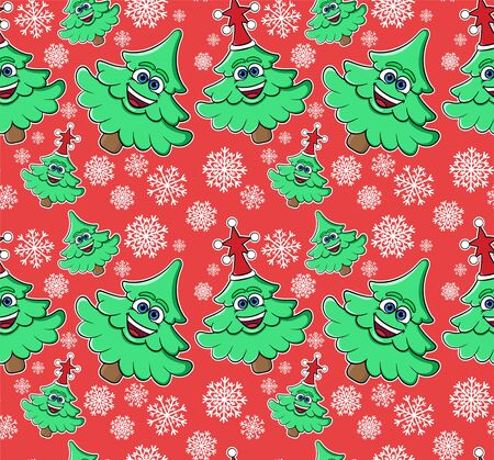 Christmas, New Year seamless pattern with smiling trees and snowflakes. Template for wallpaper, packaging, textile, fabric.