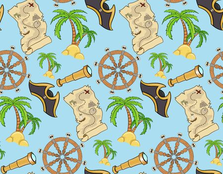 pirate seamless pattern on a blue background. Wallpaper for children in a cartoon style. Colorful nautical elements. Template for wallpaper, packaging, textile, fabric. Illustration