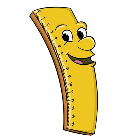cartoon ruler with a smiling yellow face. vector isolated on white background