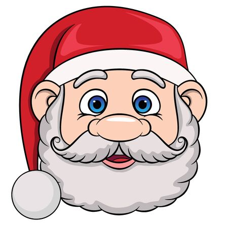 head of cartoon smiling santa claus in christmas hat. vector on a white background.