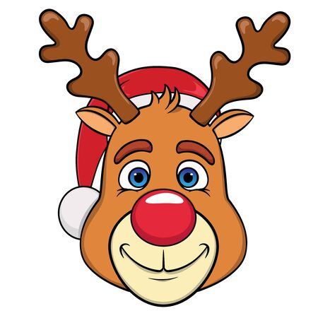 Santa claus deer head in christmas hat, cute cartoon isolated on white background.